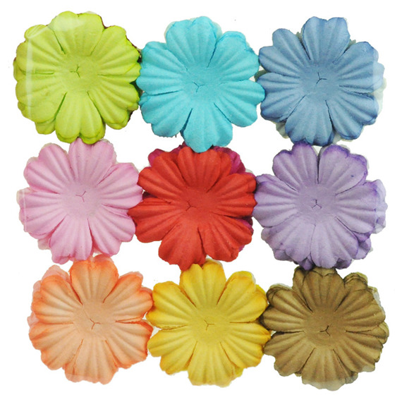 "100 MIXED COLOUR SUMMER BLOOMS (20 colours - 3,8cm / 1,5"")"