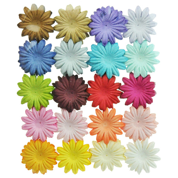 "100 MIXED COLOUR SUMMER BLOOMS (20 colours - 3cm / 1,18"")"