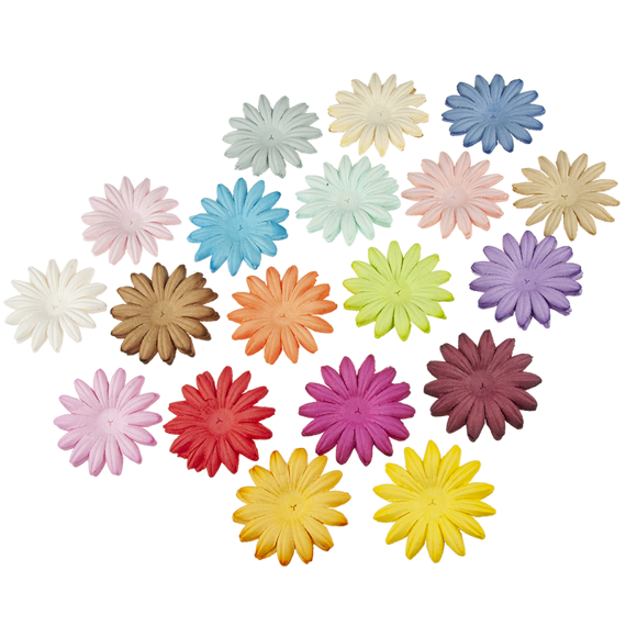 "100 MIXED COLOUR SUMMER BLOOMS (20 colours - 5cm / 2"")"