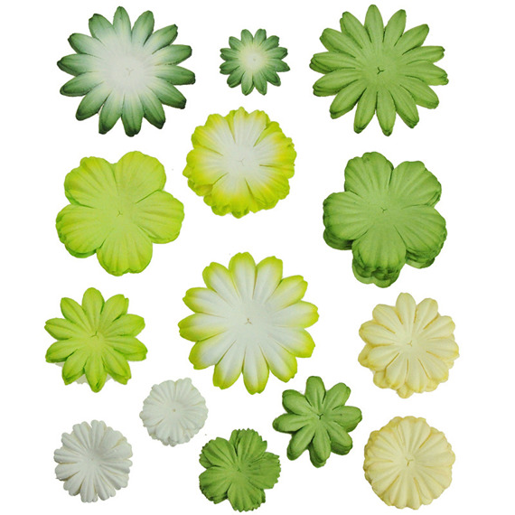 100 MIXED GREEN/WHITE  TONE BLOOM SET