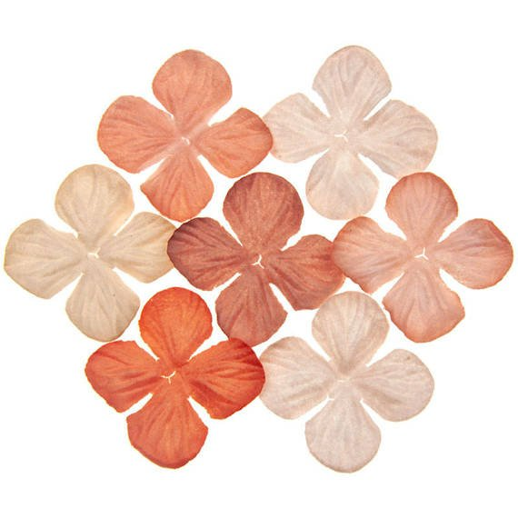 100 MIXED PEACH/ORANGE TONE HYDRANGEA BLOOMS 25MM