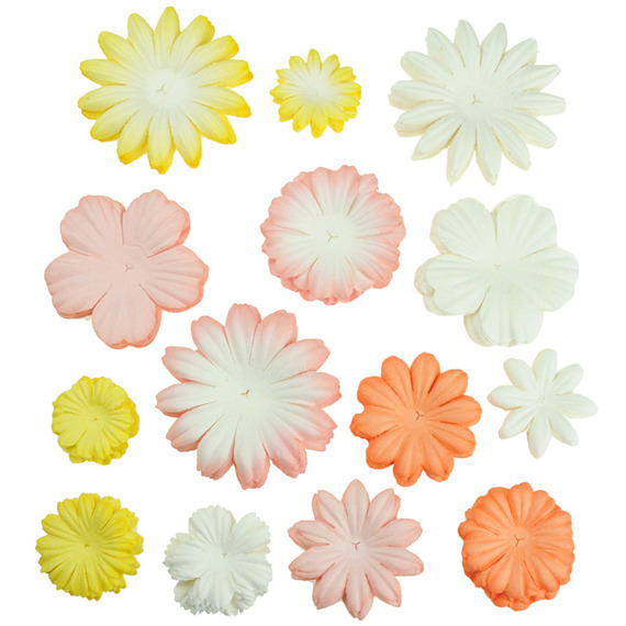 100 MIXED PEACH/YELLOW/WHITE  TONE BLOOM SET