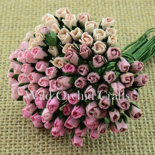"100 MIXED PINK MULBERRY PAPER ROSEBUDS ⅛"" (4mm)"