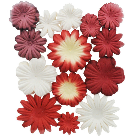 100 MIXED RED/WHITE  TONE BLOOM SET