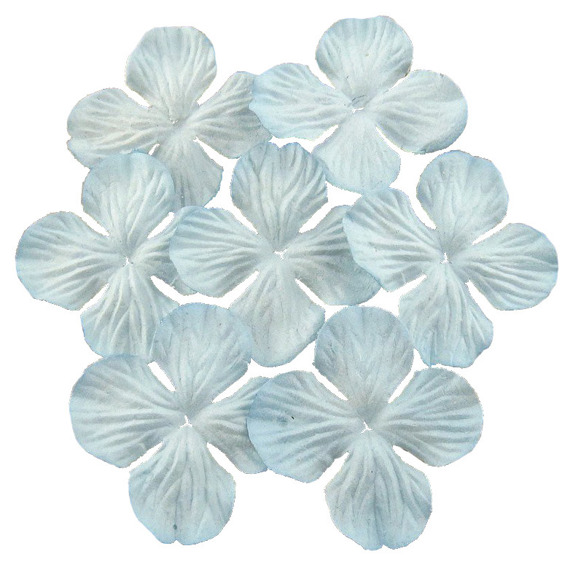 100 PALE BLUE HYDRANGEA BLOOMS 25MM