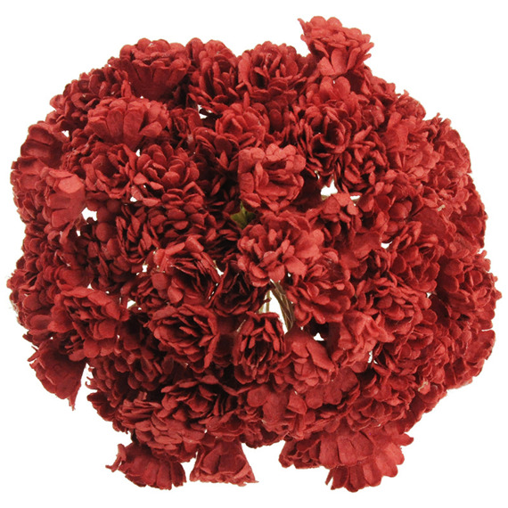 100 RED MULBERRY PAPER GYPSOPHILA FLOWERS