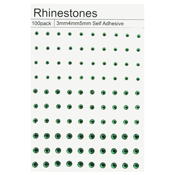 100 SELF ADHESIVE RHINESTONES - GREEN
