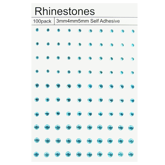 100 SELF ADHESIVE RHINESTONES - SEA BLUE