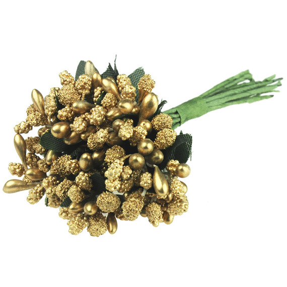 11 GOLD BEAD BERRY SPRAY CLUSTERS