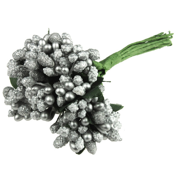 11 SILVER BEAD BERRY SPRAY CLUSTERS