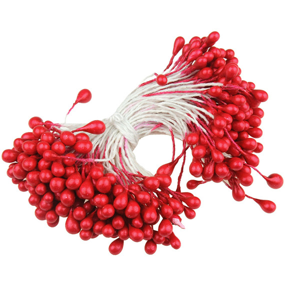 160 RED DOUBLE HEAD PEARL STAMENS