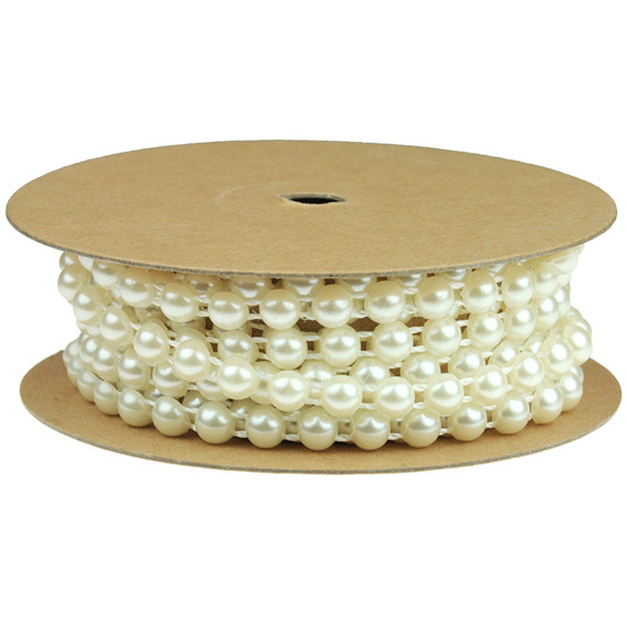 "2.2 Yards (2 METRE) FLAT BACK IVORY PEARL STRING - ¼"" (6mm)"