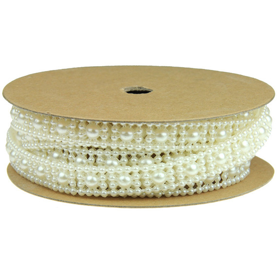 "2.2 Yards (2 METRE) FLAT BACK IVORY PEARL STRING - ⅜"" (10mm)"