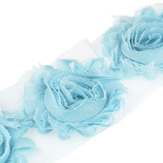 2 METRE LENGTH (2.2 Yards) BABY BLUE ORGANZA ROSE TRIMMING