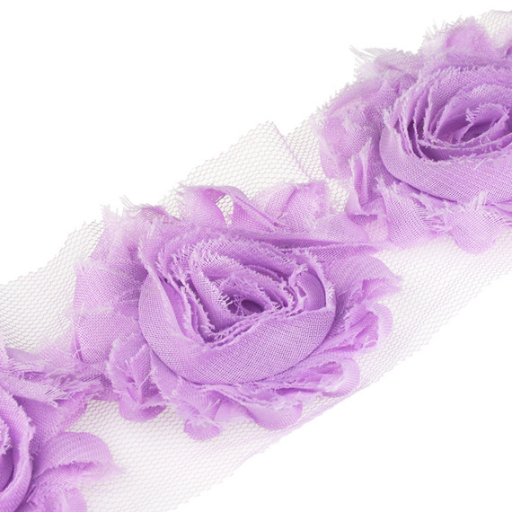 2 METRE LENGTH (2.2 Yards) LILAC ORGANZA ROSE TRIMMING