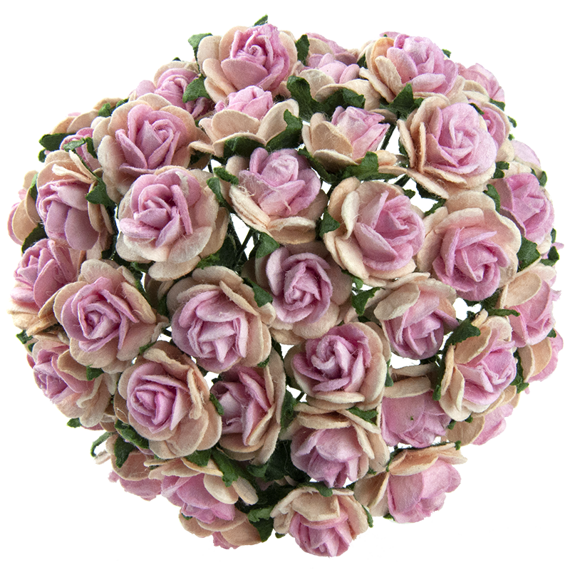 2-TONE BABY PINK WITH PINK CENTRE MULBERRY PAPER OPEN ROSES