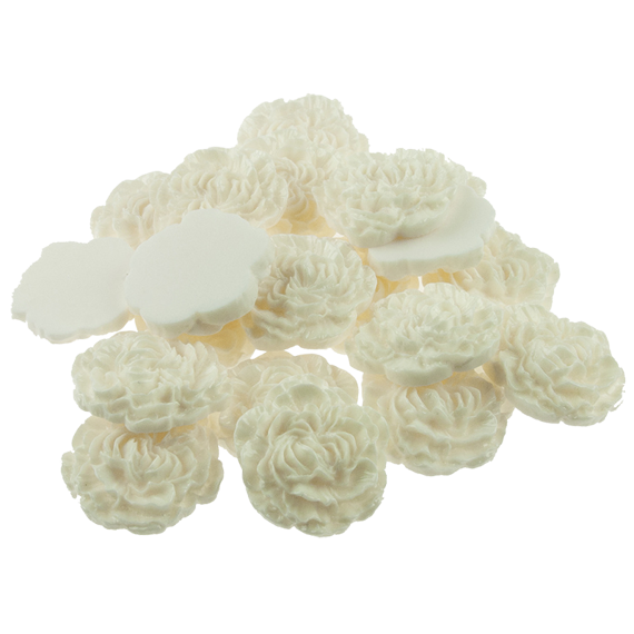 20 IVORY PEARL EFFECT ROSE CABOCHONS - 30mm
