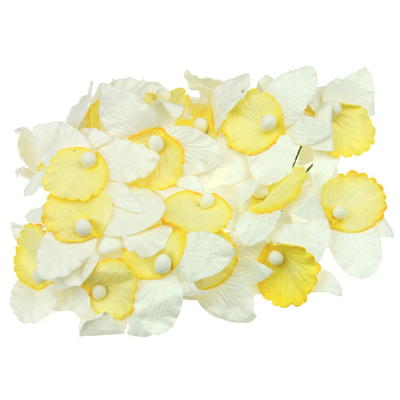 20 LARGE WHITE AND YELLOW MULBERRY PAPER ORCHIDS