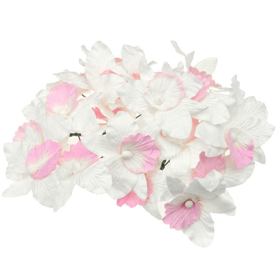 20 LARGE WHITE/BABY PINK MULBERRY PAPER ORCHIDS