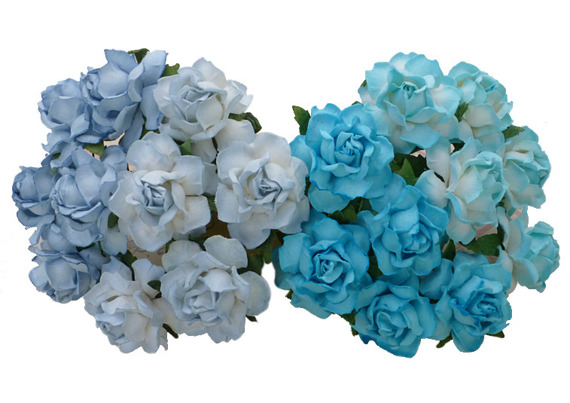 20 MIXED BLUE TONE MULBERRY PAPER COTTAGE ROSES 25mm
