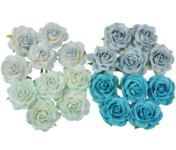 20 MIXED BLUE TONE MULBERRY PAPER TRELLIS ROSES