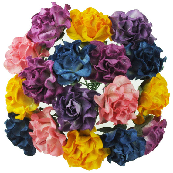 "20 MIXED COLOUR TUSCANY ROSES - 30mm (1¼"")"