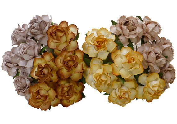 20 MIXED EARTH TONE MULBERRY PAPER COTTAGE ROSES 30mm