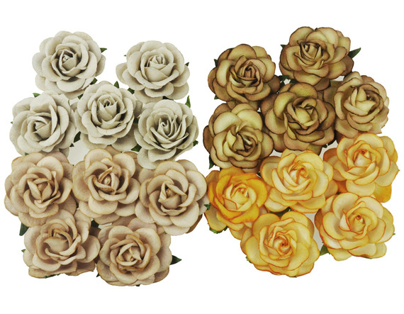 20 MIXED EARTH TONE MULBERRY PAPER TRELLIS ROSES 35mm