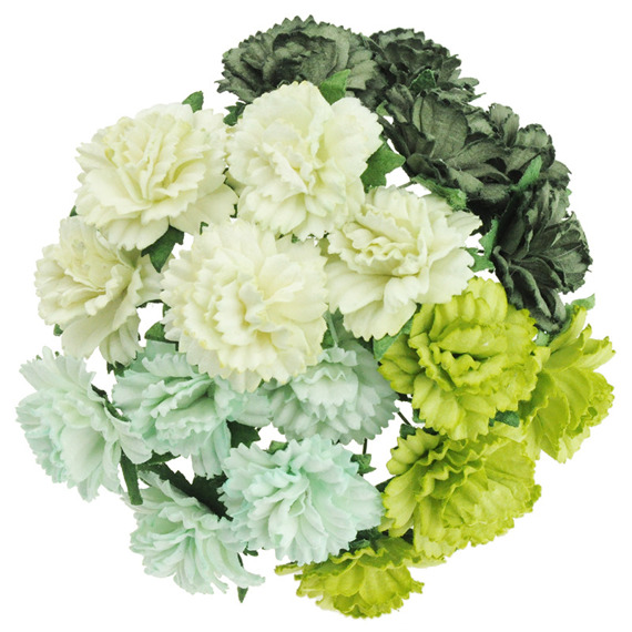 20 MIXED GREEN MULBERRY PAPER CARNATION FLOWERS