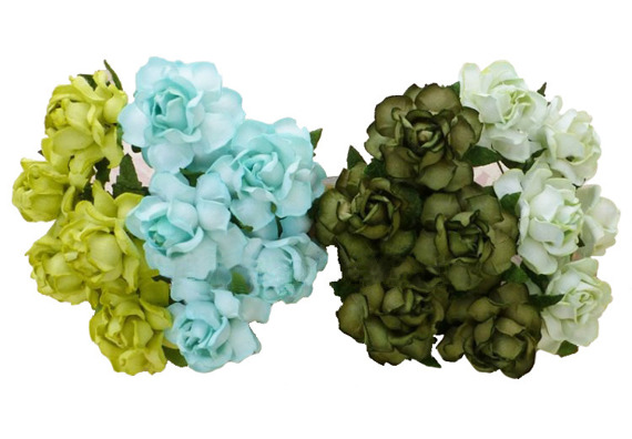 20 MIXED GREEN TONE MULBERRY PAPER COTTAGE ROSES