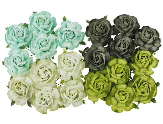 20 MIXED GREEN TONE MULBERRY PAPER TEA ROSES 40mm