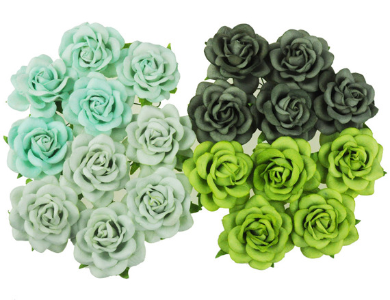 20 MIXED GREEN TONE MULBERRY PAPER TRELLIS ROSES