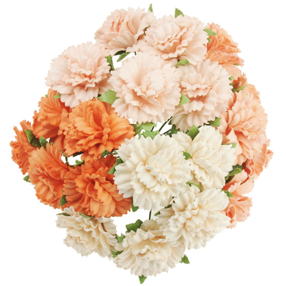 20 MIXED PEACH/ORANGE MULBERRY PAPER CARNATION FLOWERS