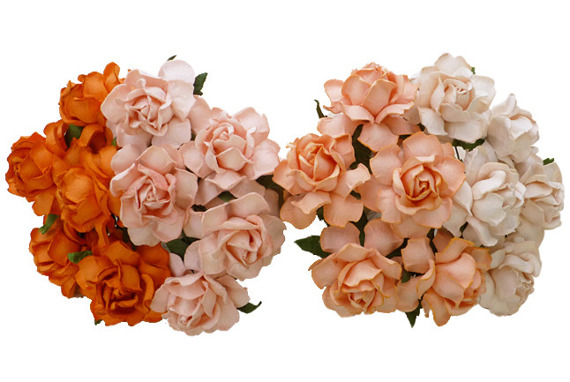 20 MIXED PEACH/ORANGE MULBERRY PAPER COTTAGE ROSES 25mm
