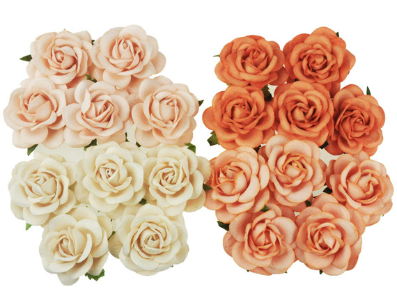 20 MIXED PEACH/ORANGE TONE MULBERRY PAPER TRELLIS ROSES