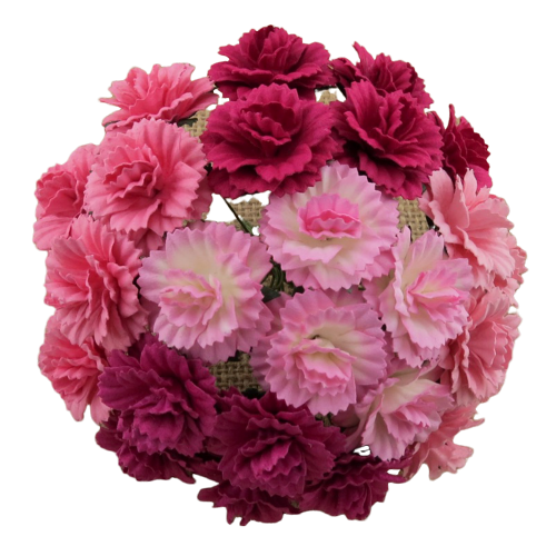 20 MIXED PINK MULBERRY PAPER CARNATION FLOWERS