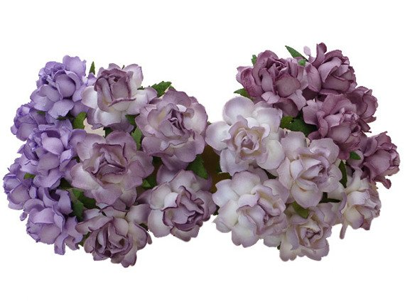 20 MIXED PURPLE/LILAC MULBERRY PAPER COTTAGE ROSES 30mm