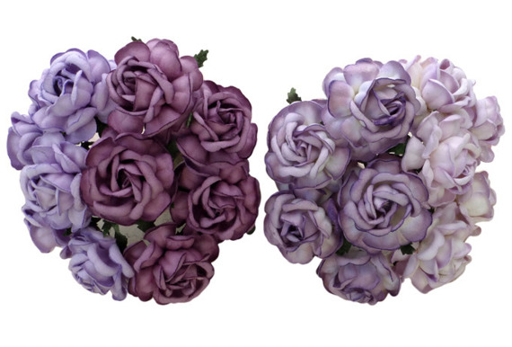 20 MIXED PURPLE/LILAC MULBERRY PAPER TEA ROSES 40mm