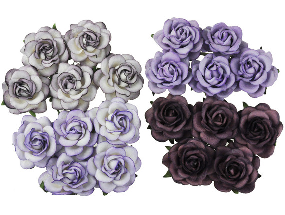 20 MIXED PURPLE/LILAC TONE MULBERRY PAPER TRELLIS ROSES