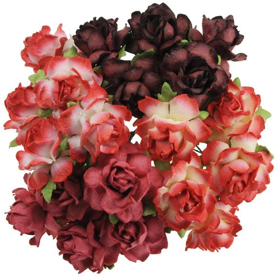 20 MIXED RED MULBERRY PAPER COTTAGE ROSES 30mm