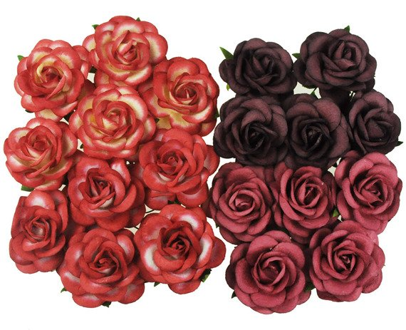 20 MIXED RED TONE MULBERRY PAPER TRELLIS ROSES 40MM