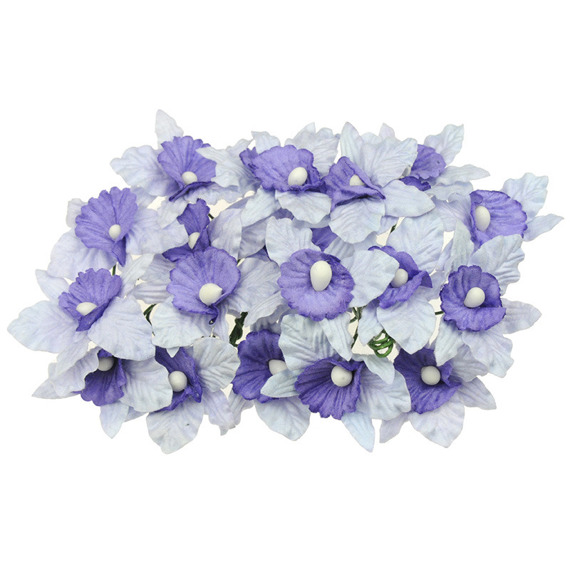 20 SMALL PALE LILAC AND LILAC/BLUE MULBERRY PAPER ORCHIDS