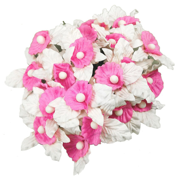 20 SMALL WHITE AND BABY PINK MULBERRY PAPER ORCHIDS