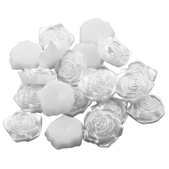 20 WHITE ROSE CABOCHON EMBELLISHMENTS - PEARL EFFECT