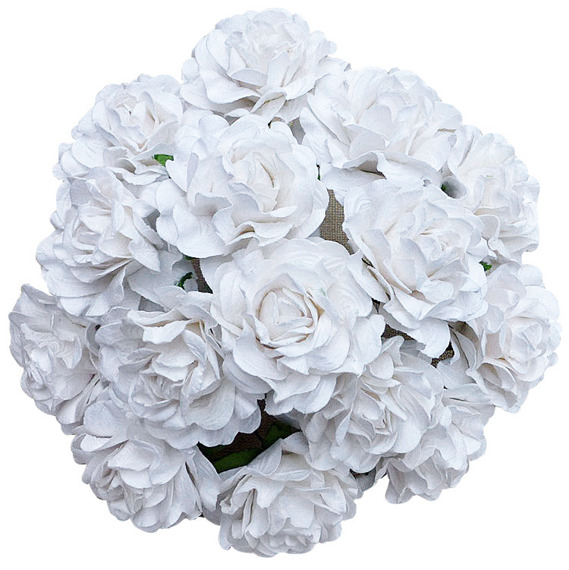 "20 WHITE TUSCANY ROSES - 30mm (1¼"")"