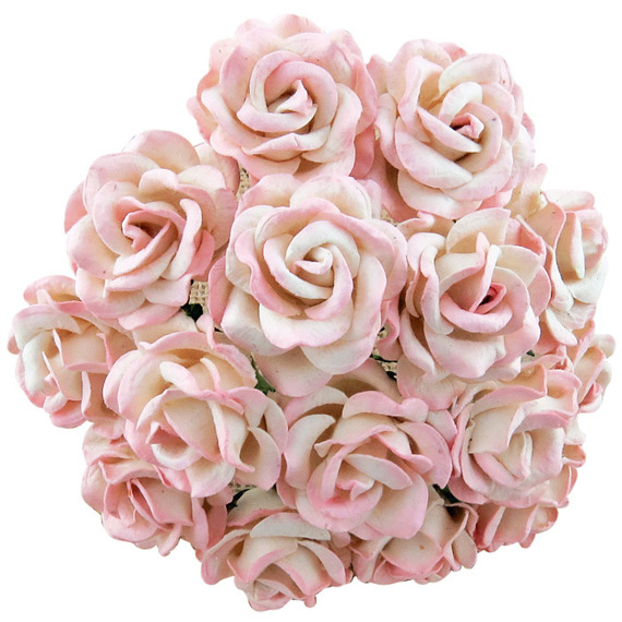 25 2-TONE BABY PINK/IVORY MULBERRY PAPER CHELSEA ROSES