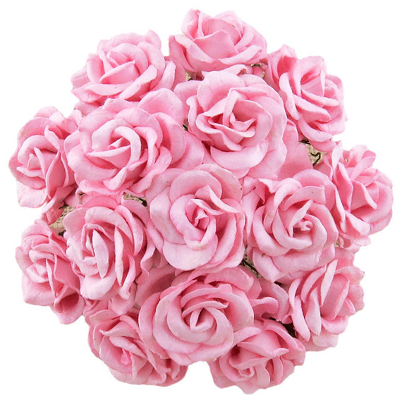 25 BABY PINK MULBERRY PAPER CHELSEA ROSES