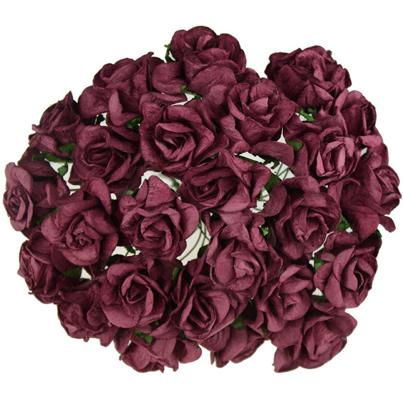 "25 BURGUNDY MULBERRY PAPER WILD ROSES 1"" (25mm)"
