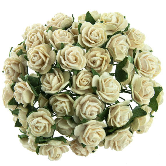 25 DEEP IVORY MULBERRY PAPER OPEN ROSES 25 MM