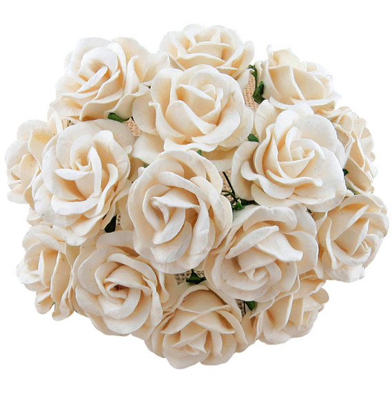 25 IVORY MULBERRY PAPER CHELSEA ROSES